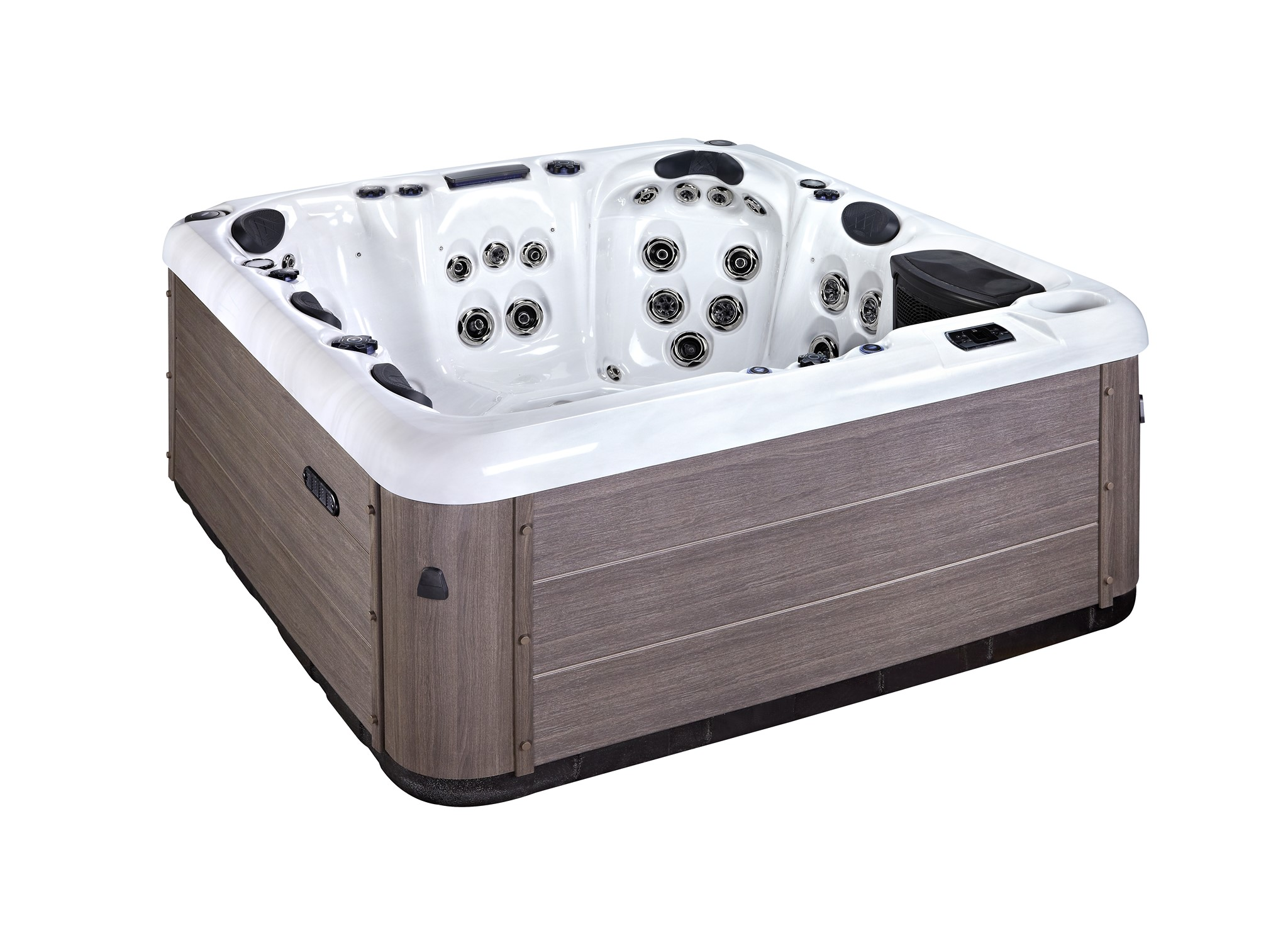Quality, stylish design and comfort  Favells Caesar spa is perfect for 6 people, and includes 56 jets, water features and LED lights. Using 2 x 3 HP pumps the jet pressure is very powerful and therefore the hydrotherapy is exceptional.  » Spas, Swim Spas & Accessories Fuengirola, Costa Del Sol, Spain